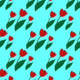 Seamless pattern with red tulips 3. Seamless pattern with red tulips on white background Royalty Free Stock Photography