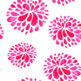 Seamless pattern with red watercolor flowers Stock Photo