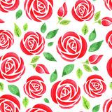 Seamless pattern with red watercolor rose Royalty Free Stock Photography