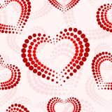 Seamless pattern with red and white dotted hearts. Dots. Pastel colors. St.Valentines day royalty free illustration