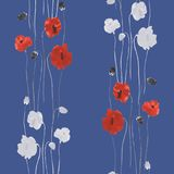 Seamless pattern of red and white flowers of poppy on a deep blue background. Watercolor Royalty Free Stock Image