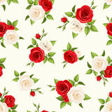 Seamless pattern with red and white roses and lisianthus flowers. Vector illustration. Stock Image