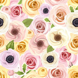 Seamless pattern with red and white roses. Vector illustration. Royalty Free Stock Image