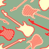 Seamless pattern with red white striped finish guitar silhouettes. Vector illustration Stock Image