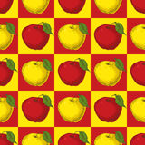 Seamless Pattern with Red and Yellow Apples Royalty Free Stock Photo