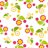 Seamless pattern of red and yellow flowers on white background - vector illustration Stock Photo