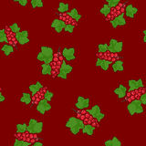 Seamless Pattern , Redcurrant on Red Background. Seamless Pattern of Redcurrant , Fruit Berry on Dark Red Background, Vector Illustration Stock Photography