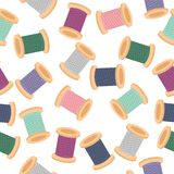 seamless pattern with reels of thread Royalty Free Stock Images