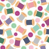 Seamless pattern with reels of thread and buttons Stock Photo