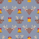 Seamless pattern with reindeer and bells. Seamless Christmas pattern with reindeer and bells Stock Images