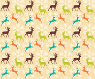Seamless pattern with reindeers and christmas snowflakes Stock Photo