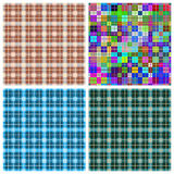 Seamless pattern reminded Scottish fabric.A set of four illustr Royalty Free Stock Photo