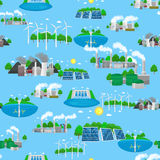 Seamless pattern renewable ecology energy, green city power alternative resources concept, environment save new Stock Photo