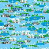 Seamless pattern renewable ecology energy, green city power alternative resources concept, environment save new Royalty Free Stock Photos