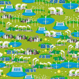Seamless pattern renewable ecology energy, green city power alternative resources concept, environment save new Stock Images