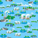 Seamless pattern renewable ecology energy, green city power alternative resources concept, environment save new. Renewable ecology energy icons, green city power Stock Photo