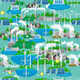 Seamless pattern renewable ecology energy, green city power alternative resources concept, environment save new. Renewable ecology energy icons, green city power Stock Photos
