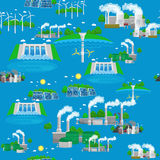 Seamless pattern renewable ecology energy, green city power alternative resources concept, environment save new Royalty Free Stock Image