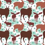 Seamless Pattern Repeatable of Horned Deer Buck Stag.  royalty free illustration