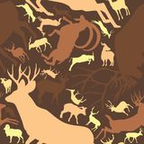 Seamless Pattern Repeatable of Horned Deer Buck Stag.  stock illustration