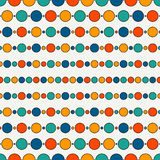 Seamless pattern with repeated horizontal lines and circles. Strings of beads motif. Hanging garland background. stock illustration