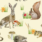 Seamless pattern repeated tile of watercolor animals Stock Images