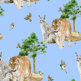 Seamless pattern repeated tile of watercolor animals Royalty Free Stock Photography