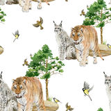 Seamless pattern repeated tile of watercolor animals Royalty Free Stock Photo