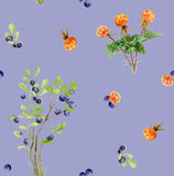 Seamless pattern repeated tile of watercolor berries Stock Images