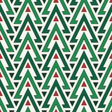 Seamless pattern with repeated triangles in Christmas traditional colors. Fir trees motif. Ethnic ornamental background. Seamless pattern with repeated Stock Images