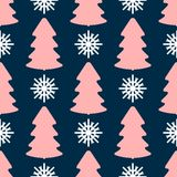 Seamless pattern with repeating colored silhouettes of snowflakes and Christmas trees. New year print. stock photos