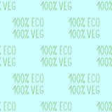 Seamless pattern with repeating lettering 100% eco veg. On white background Royalty Free Illustration