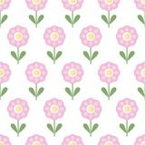 Seamless pattern with repeating pink flowers - isolated vector vector illustration