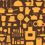 Seamless pattern with restaurant and kitchen Royalty Free Stock Image
