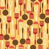 Seamless pattern with restaurant and kitchen Royalty Free Stock Photography