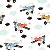 Seamless pattern with retro air planes in the sky. Creative childish texture. Great for fabric, textile Vector Illustration.  vector illustration