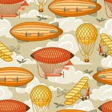 Seamless pattern with retro air transport. Vintage aerostat airship, blimp and plain in cloudy sky Stock Photos