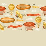 Seamless pattern with retro air transport. Vintage aerostat airship, blimp and plain in cloudy sky Royalty Free Stock Images