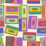 Seamless pattern of retro audio cassettes Stock Photo