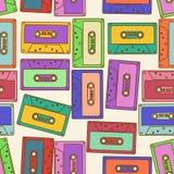 Seamless pattern of retro audio cassettes Stock Photo