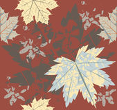 Seamless pattern with retro autumn leaves Stock Images