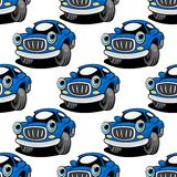 Seamless pattern of a retro blue car Stock Image