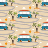 Seamless pattern of retro Bus  surfboard in beach with palms Stock Photography