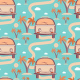 Seamless pattern of retro Bus  surfboard in beach with palms Royalty Free Stock Image