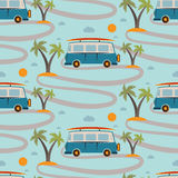 Seamless pattern of retro Bus  surfboard in beach with palms Royalty Free Stock Photos