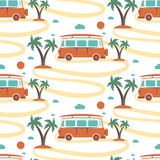Seamless pattern of retro Bus  surfboard in beach with palms Stock Image