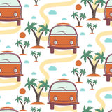 Seamless pattern of retro Bus surfboard in beach with palms Stock Images