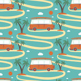 Seamless pattern of retro Bus  surfboard in beach with palms Royalty Free Stock Photography