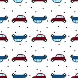 Seamless pattern with retro cars and polka dot. Flat desidn. stock illustration