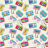 Seamless pattern of retro cassette tapes. Seamless pattern of cassette tapes. Vector background Stock Photo